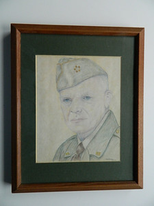 16 Eisenhower - color pencil, 10x8. NFS