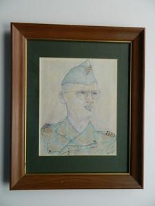 16A Maj Paul Grauwin, MD, Doctor at Dien Bien Phu - color pencil, 10x8. NFS