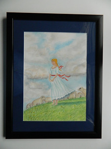 10 Shepherdess - watercolor, 19x14. $300
