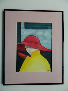 36 Golden Girl, watercolor - 14x10. NFS