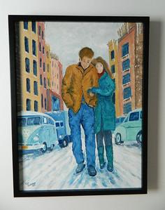 42 Freewheelin' - Dylan & Suze Rotolo, Greenwich Village, February 1963 - oil, 24x18. NFS
