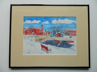 34 Christmas Morning, Saranac Lake - watercolor, 10x14. NFS