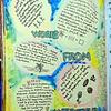 Gesso, gel pens, glitter pen, Micron pen, markers, watercolor pencils, stencil.
