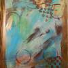 Gesso, acrylic paint, stencil, bottle cap, glitter spritz.