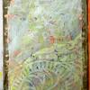 Rubbing plate, gesso, acrylic paint, sandpaper.