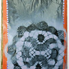 Gesso, acrylic paint, spray paint, doily.  There is another learning experience here.  I did not gesso the back side of this page, so when I painted over the glued on pieces of paper the substrate paper crinkled.