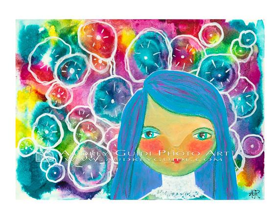 Blue girl dreams of flowers