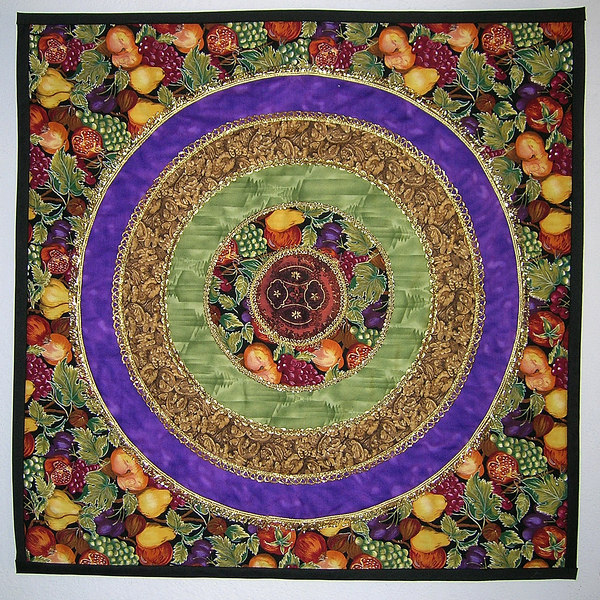 """Fruit Loops""<br /> 2001 - 19"" x 19""<br /> This was my 2001 challenge quilt for the Vallejo Piecemakers Quilt Guild. The fruit fabric was the challenge fabric."