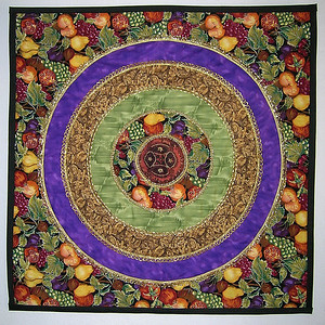 """Fruit Loops"" 2001 - 19"" x 19"" This was my 2001 challenge quilt for the Vallejo Piecemakers Quilt Guild. The fruit fabric was the challenge fabric."