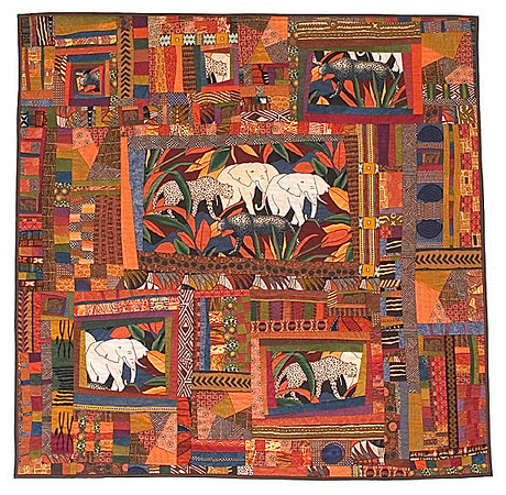 """Elephants, Leopards and Cheetahs, Oh My!""<br /> 2005 - 62""x61""<br /> Juried into the 2006 Pacific International Quilt Festival."