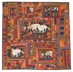 """Elephants, Leopards and Cheetahs, Oh My!"" 2005 - 62""x61"" Juried into the 2006 Pacific International Quilt Festival."