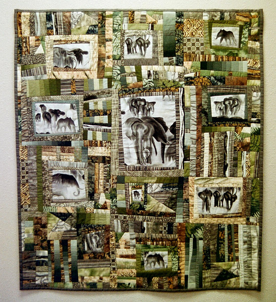 """Elephants In The Mist""<br /> 2001 - 44"" x 51""<br /> Juried into the 2002 Pacific International Quilt Festival"