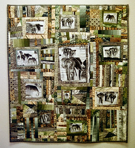 """Elephants In The Mist"" 2001 - 44"" x 51"" Juried into the 2002 Pacific International Quilt Festival"