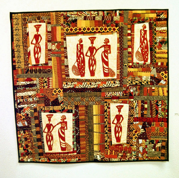 """Ladies Of Senegal""<br /> 2001 - 54"" x 51""<br /> Juried into the Pacific International Quilt Festival in 2001. Made in honor of South African quilter Lee Hackmann.<br /> (sold)"