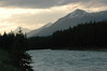 ....athabasca river and mountains on a cloudy morning in jasper national park---alberta canada...