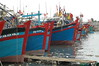 These Vietnamese fishing boats were all anchored at the same time and being prepped to roll out for a day of fish taking.  The gaily painted bows made for a lovely site.
