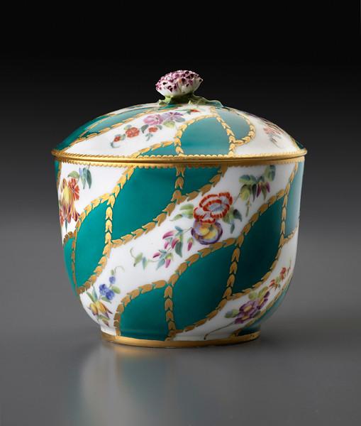 Sugar Bowl with Diagonal Floral Garlands and Green Ribbons, 1756