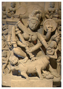 Durgha slaying the buffalo demon. 10th century. Sandstone.