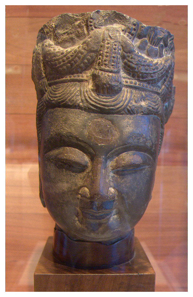 Stone Head of Bodhisattva. Norther Qui or Sui Dynasty. 6th century.