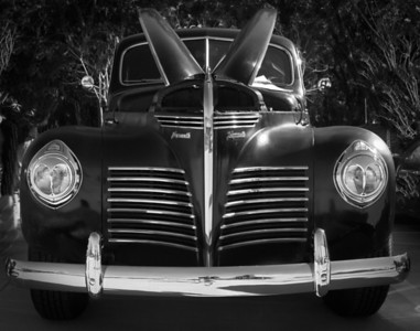 1940 Plymouth in black and white.
