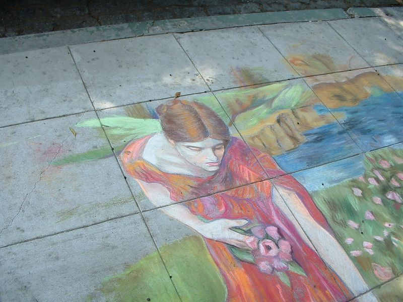 sidewalk chalk art - Riverside, 2 July 2004