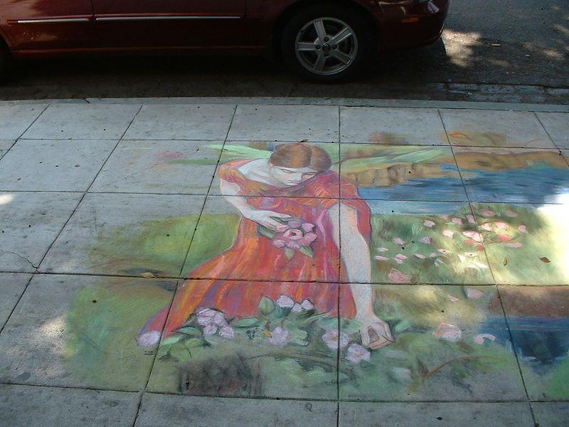 sidewalk chalk art - Riverside, 2 July 2004