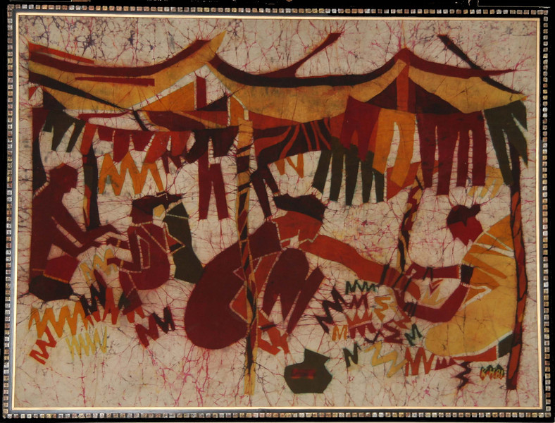 """This was my first batik, done in 1981.  A challenging first piece!  It depicts women entrepreneurs selling Indian bangles and will be featured in 2008 at a conference in New Delhi titled """"Empowering Women in India."""""""