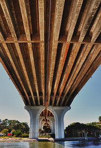 The underside of the causeway in Flagler County, Fl.