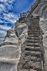 An abandoned stairway at Pismo Beach
