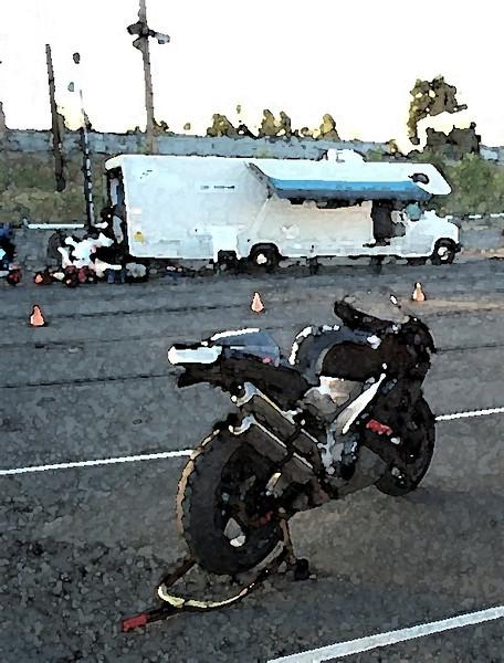 Portland International Raceway track day, 2002, early AM.  My 2000 Aprilia Mille.