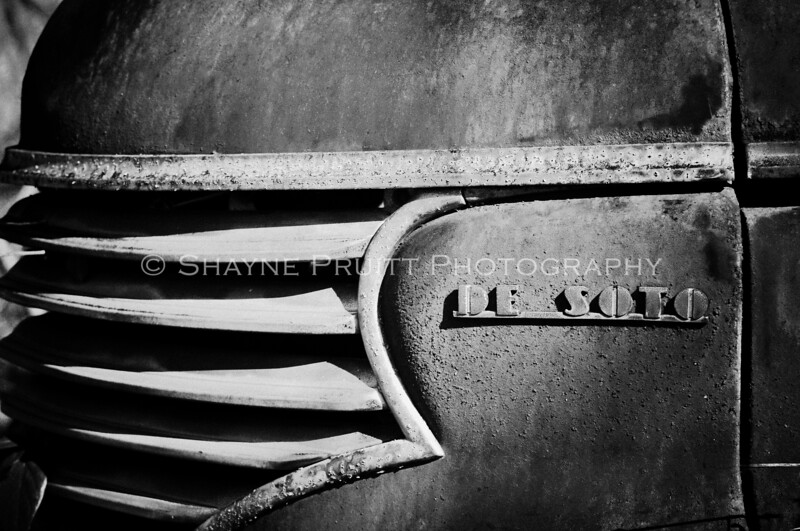 Rusty Old De Soto in Black and White