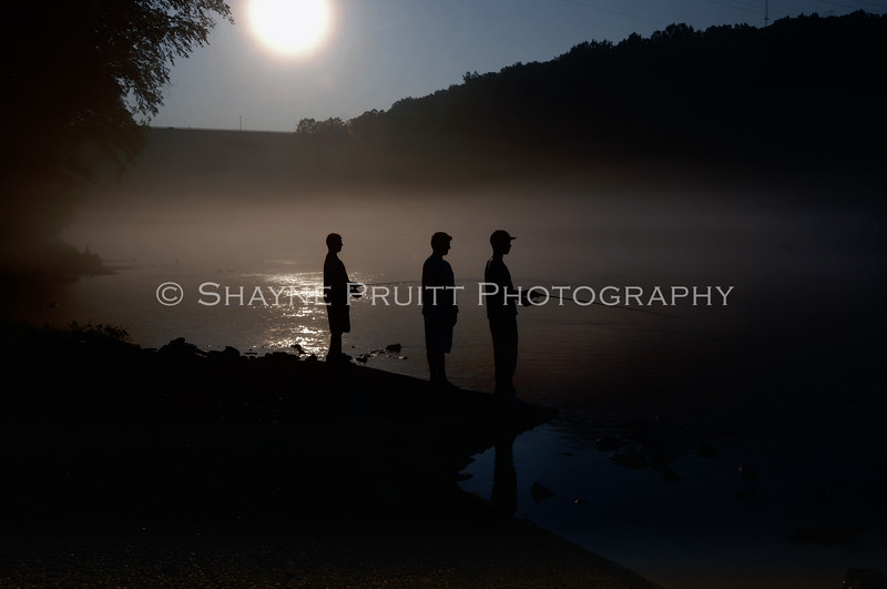 Boys Fishing, Early Morning, Buford Dam, Cumming, Georgia