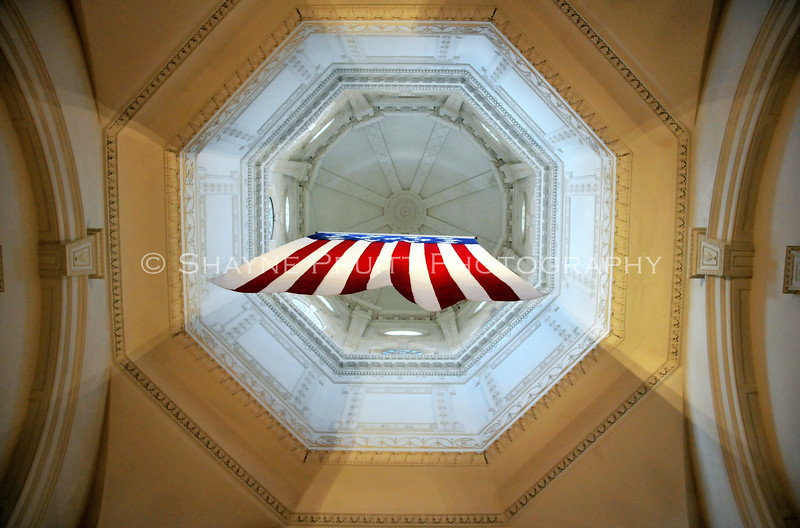 U.S. Flag Hanging from the Ceiling inside the State House, Annapolis, Maryland
