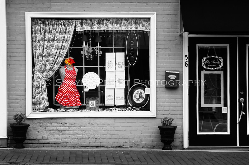 Boutique window in downtown Buford, Georgia