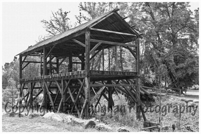 Sutter's Mill redone in B&W to look like picture was taken in at the time of the Gold Rush!