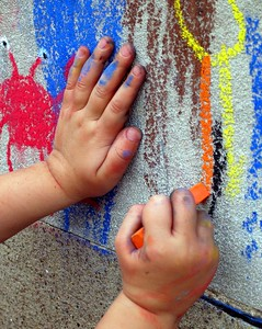 "Modern ARF Sidewalk Chalk Painting Festivals/Sessions:  ""Hands of the Artist"" The program runs spring and summer.  Photo: Andrea Scharnau"