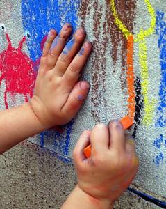 "Modern ARF Sidewalk Chalk Painting Festivals/Sessions:  ""Hands of the Artist"" The program runs spring and summer.  Photo: Andrea Scharnau"