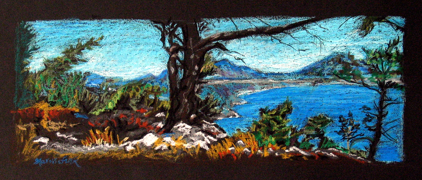 """Ruth Maruschak, """"Karpathos"""" (2004) Oil pastel on paper, 18"""" x 24"""", framed.  Ruth has been an ongoing student of 2-D at Modern ARF this past year."""