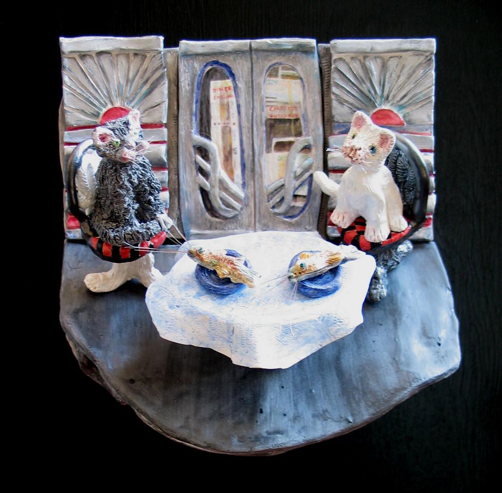 """Kathleen Stevenson, """"Catfish for Lunch,"""" (2004) Glazed porcelain, mixed media, 18"""" x 18"""" x 6"""""""