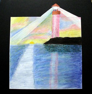 "Liza Gibbs, ""Lighthouse in Maine,"" ( 2004 ) Pastel, m.m., 24"" x 24"". Retail: $500. This work was included in the ""ANONYMOUS RETURNS"" exhibition sponsored by WPA/C and the Hemphill Gallery. Liza is an ongoing student in 2-D at Modern ARF. She was ten years old when she made this work."