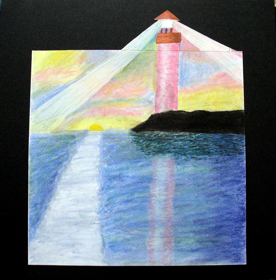 """Liza Gibbs, """"Lighthouse in Maine,"""" ( 2004 ) Pastel, m.m., 24"""" x 24"""". Retail: $500. This work was included in the """"ANONYMOUS RETURNS"""" exhibition sponsored by WPA/C and the Hemphill Gallery. Liza is an ongoing student in 2-D at Modern ARF. She was ten years old when she made this work."""