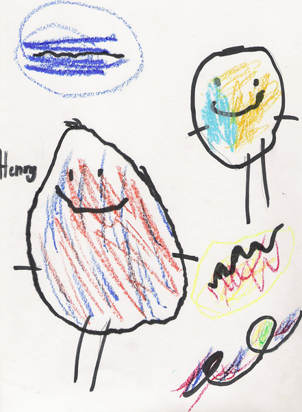 This is Henry's self portrait.  He made it in art class on January 2008.