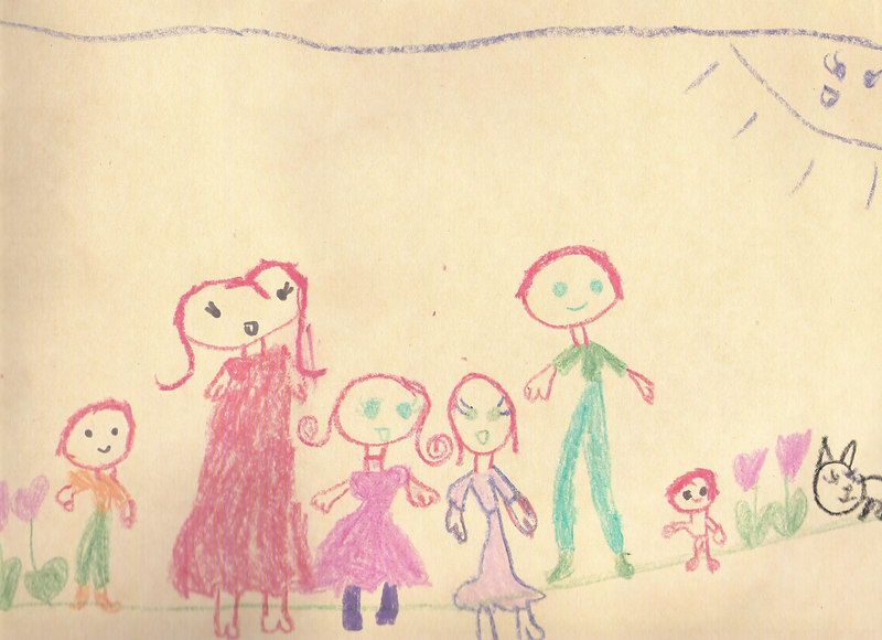 Elizabeth drew this picture of our family while she was in Sunday School.  She is a great artist like her sister!  <br /> October 2006