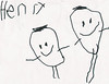 Henry learned to write his name by himself in January 2008 in his Pre-K class.  He is 4 years old.  This is a picture of him (on left) and me (Mom).