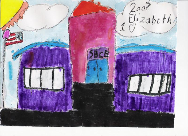 Elizabeth's drawing of her elementary school - SBCE (State Bridge Crossing Elementary).  September 2007, 1st grade