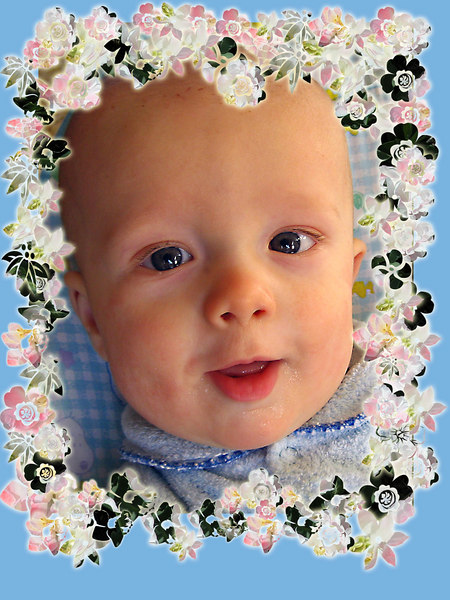 This is the same frame from the previous picture only I changed the background to blue because our Grandson Grant is a boy.