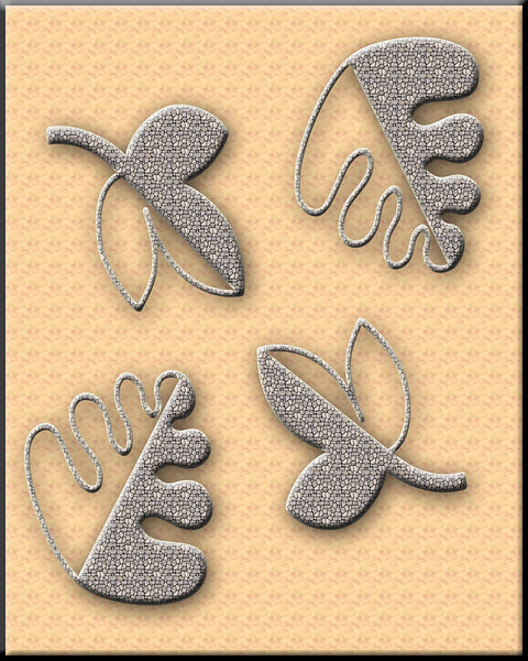 Made these leaves using shape tools in Photoshop then added background and small stone pattern to the leaves.