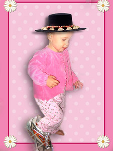 Olivia Funk. She is wearing one of my running shoes. Hat was added later as a graphic.