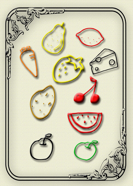 Photoshop fruit shape tools. Shows how shapes can be colored and made to look 3D with drop shadows.