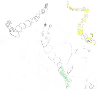 Mommy & Sidney drew these caterpillars.  Mommy drew one yellow caterpillar and Sidney took it from there - she's a very good copy cat :)
